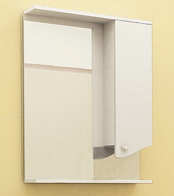 "Зеркало ""Roman"" 60 см шкаф справа, свет, выкл., розетка белый бархат<br>"