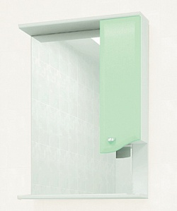 "Зеркало ""Roman"" 60 см шкаф справа, свет, выкл., розетка салатовое<br>"
