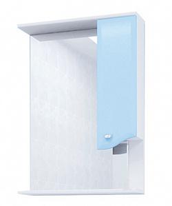 "Зеркало ""Roman"" 60 см шкаф справа, свет, выкл., розетка голубое<br>"