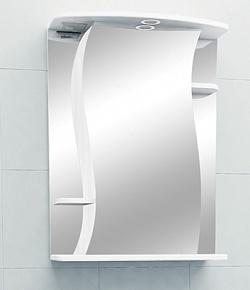 """Зеркало-шкаф """"Лилия"""" 60 см полочки по бокам, свет, выкл., розетка белое<br>"""