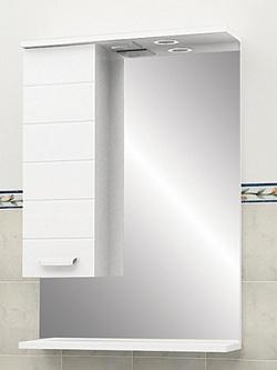 "Зеркало ""Таис"" 60 см шкаф слева, свет, выкл., розетка белый каннелюр<br>"