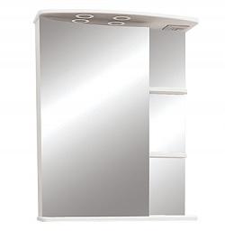 """Зеркало-шкаф """"Магнолия"""" 60 см полочки слева, свет, выкл., розетка белый<br>"""