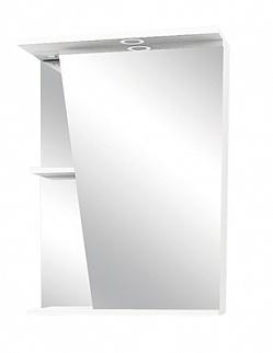 "Зеркало-шкаф ""Астра"" 55 см шкаф справа, свет, выкл., розетка белое<br>"