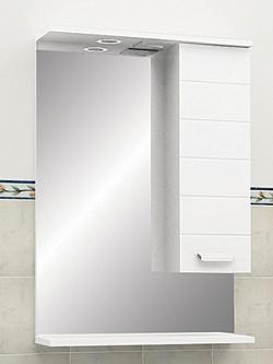 "Зеркало ""Таис"" 60 см шкаф справа, свет, выкл., розетка белый каннелюр<br>"