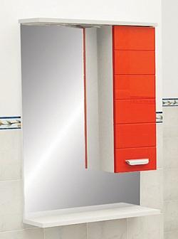 "Зеркало ""Таис"" 60 см шкаф справа, свет, выкл., розетка красный каннелюр<br>"