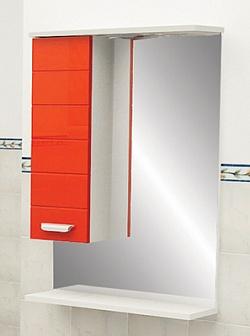 """Зеркало """"Таис"""" 60 см шкаф слева, свет, выкл., розетка красный каннелюр<br>"""