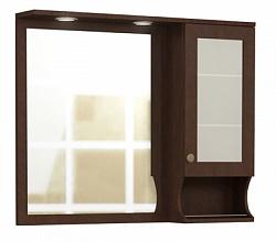 """Зеркало """"Эйфория"""" 105см, шкаф справа, свет, розетка, коричневый(кожа)<br>"""
