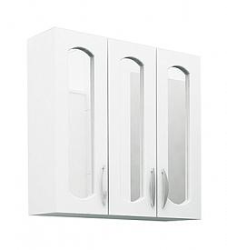 Шкаф навесной 60 см 3-х дверный с зеркалом белый<br>