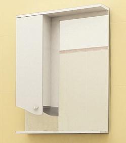 "Зеркало ""Roman"" 60 см шкаф слева, свет, выкл., розетка белый бархат<br>"
