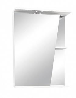 "Зеркало-шкаф ""Астра"" 55 см шкаф слева, свет, выкл., розетка белое<br>"