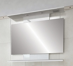 """Зеркало """"Коралл"""" 82 см с полочкой, свет, выкл., розетка белое<br>"""