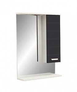 "Зеркало ""Таис"" 60 см шкаф справа, свет, выкл., розетка черный каннелюр<br>"