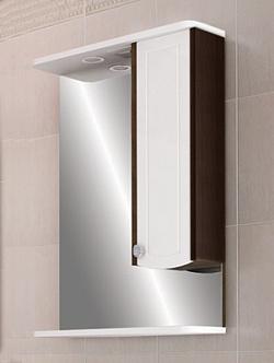 "Зеркало ""Ольга"" 55 см шкаф справа, свет, выкл., розетка венге<br>"