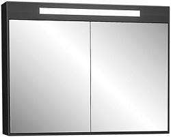 """Зеркало - шкаф """"Рондо""""86см,черный, светильник, вык.розетка<br>"""