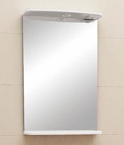 """Зеркало """"Уют"""" 45 см с полочкой, свет, выкл., розетка белое<br>"""