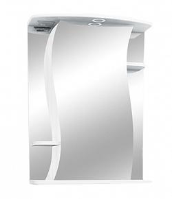 """Зеркало-шкаф """"Лилия"""" 55 см полочки по бокам, свет, выкл., розетка белое<br>"""