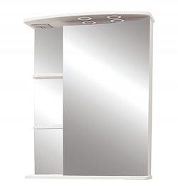 """Зеркало-шкаф """"Магнолия"""" 60 см полочки справа, свет, выкл., розетка белое<br>"""